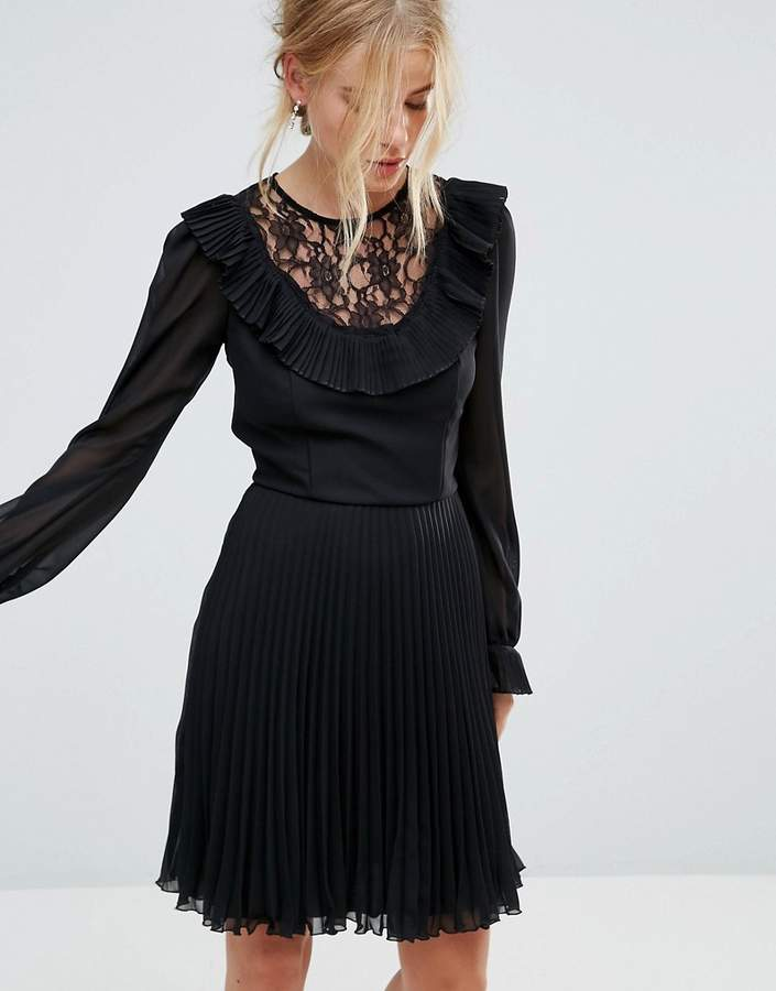 Elise Ryan Long Sleeve Skater Dress with Frill Detail And Pleated Skirt