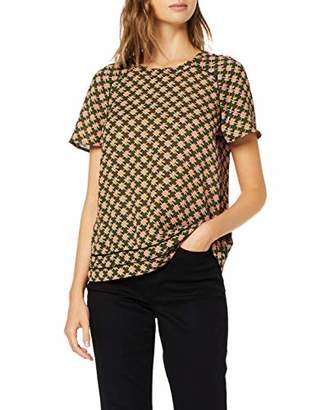 Scotch & Soda Maison Women's Short Sleeve Printed Top with Ladder Inserts Blouse,(Size: Small)