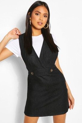 boohoo Button Front Denim Pinafore