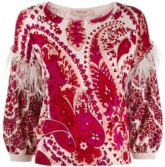 Twin-Set Printed Feather Trim Jumper