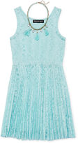 Trixxi Girl Sleeveless Lace Skater Dress with Necklace - Girls 7-16