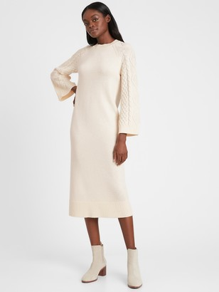 Banana Republic Cable-Sleeve Sweater Dress