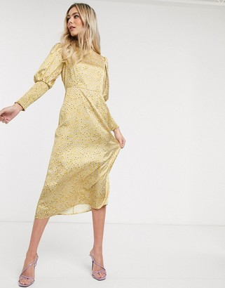 NEVER FULLY DRESSED frill neck midaxi dress in yellow ditsy print
