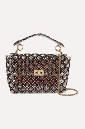 Valentino Garavani Rockstud Spike Medium Embellished Velvet-trimmed Pvc Shoulder Bag - Black