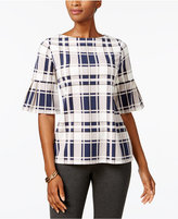 Charter Club Plaid Flared-Sleeve Top, Created for Macy's