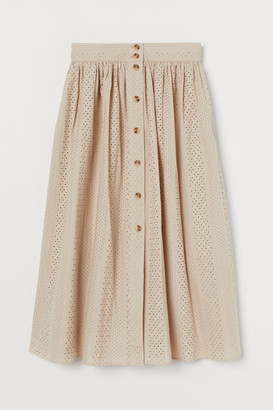 H&M Eyelet Embroidery Skirt - Beige