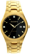 Elgin Mens Gold Tone Diamond Dial Bracelet Watch Fg8021Gt