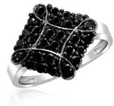 Ice 1 CT TW Round Black Diamond Sterling Silver Kite Cluster Fashion Ring by JewelonFire