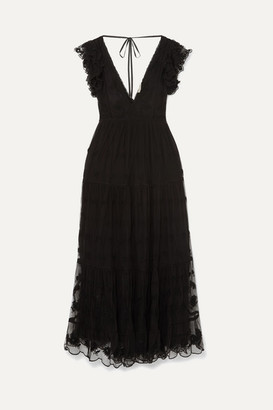 Ulla Johnson Fifi Embroidered Tulle And Voile Maxi Dress - Black