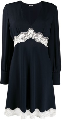 Miu Miu lace panelled V-neck dress