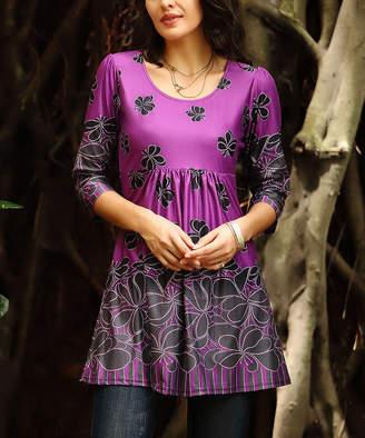 Reborn Collection Women's Tunics Purple - Purple & Black Floral Empire-Waist Tunic - Women & Plus