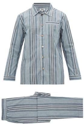 P. Le Moult - Striped Cotton Pyjamas - Mens - Blue Multi