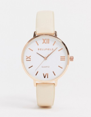 Bellfield watch with nude strap and rose gold dial