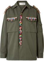 Valentino Embellished Cotton-gabardine Jacket - Army green
