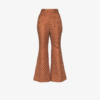 Gucci Jacquard monogram flared trousers