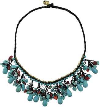 BOCAR Turquoise Statement Pendant Collar Necklace Set for Women Gifts (516)