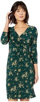 Lauren Ralph Lauren Floral Jersey Surplice Dress (Dark Fern/Gold Ochre/Multi) Women's Clothing