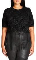 City Chic Plus Size Women's Fringed Velour Burnout Crop Top