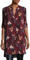 Tolani Skyler Split-Neck Floral-Print Silk Tunic, Plus Size
