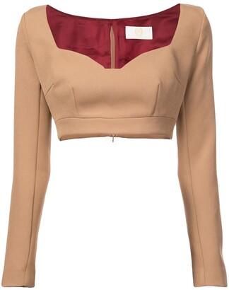 Sara Battaglia Cropped Jersey Top