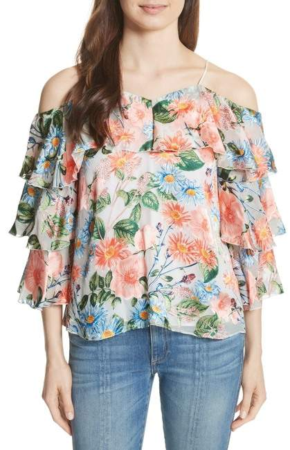 Alice + Olivia Marylee Floral Off the Shoulder Blouse