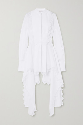 Alexander McQueen Asymmetric Lace-trimmed Cotton-pique Blouse - White