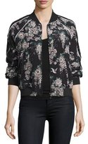 Joie Mace Floral-Print Silk Bomber Jacket, Caviar