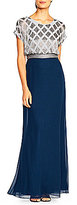 Adrianna Papell Beaded Blouson Top Bodice Gown