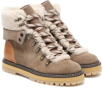 See by Chloe Eileen nubuck and shearling boots