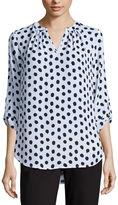 Liz Claiborne 3/4 Sleeve V Neck Woven Blouse-Petites