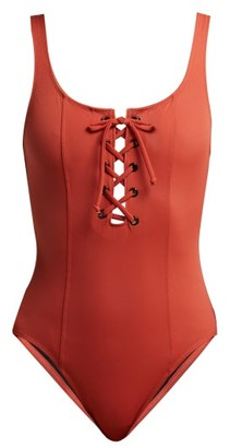 Solid & Striped The Sophia Lace-up Swimsuit - Womens - Red