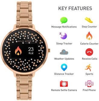 Reflex Active Series 3 Smart Watch with Crystal Set Colour Screen, Crown Navigation and Rose Gold Stainless Steel Bracelet