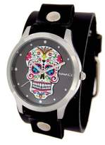 Nemesis #GB925K Women's Rock Collection Sugar Skull Black Wide Leather Cuff Band Watch