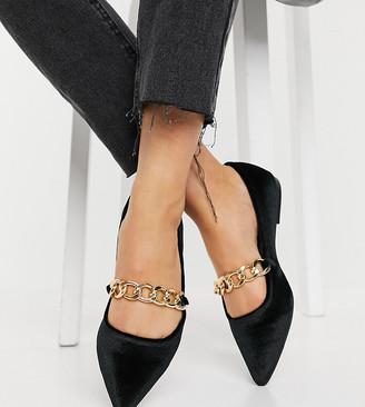 ASOS DESIGN Wide Fit Lise pointed chain ballet flats in black velvet