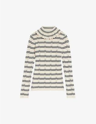 Sandro Elisabeth ruffled-neck wool-blend jumper