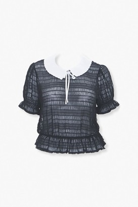 Forever 21 Plus Size Collared Puff Sleeve Top