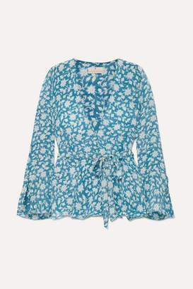 Hannah Artwear - Sapphire Floral-print Silk Crepe De Chine Top - Blue