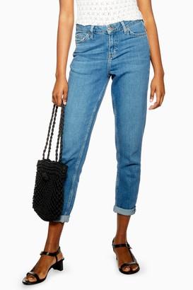 Topshop Womens Mid Blue Lucas Slim Slim Jeans - Mid Stone