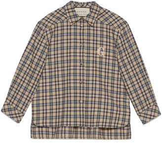 Gucci Petit check cotton wool shirt