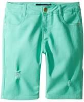 Tommy Hilfiger Bermuda Length Distressed Denim Shorts in Cabbage (Little Kids/Big Kids)