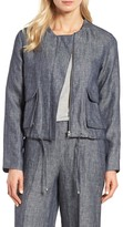 Halogen Linen Bomber Jacket (Regular & Petite)