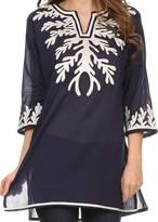 Sakkas 164025 - Gyan Tunic Blouse Shirt With Long Sleeves And Emrboidery Details - L
