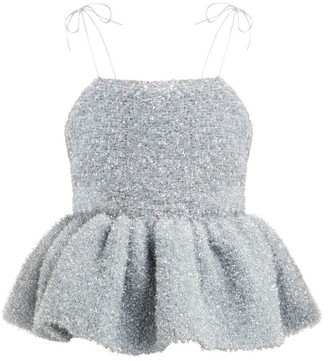 Germanier - Peplum-hem Tinsel Top - Silver