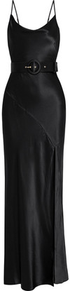Nicholas Simone Belted Silk-satin Maxi Slip Dress