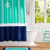 Color Block Shower Curtain (Girl), Pool/ Royal Navy, One Size