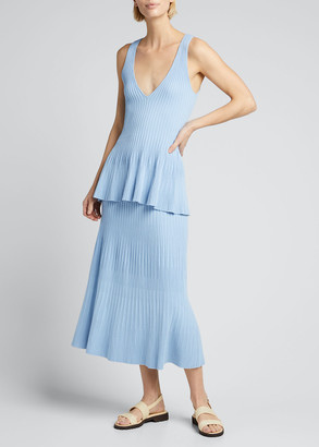 Altuzarra Ribbed-Knit Flare Midi Skirt
