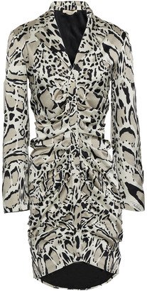 Roberto Cavalli Ruched Leopard-print Silk-blend Satin Mini Dress