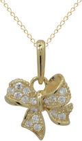 FINE JEWELRY Girls 14K Gold Cubic Zirconia Ribbon Pendant Necklace