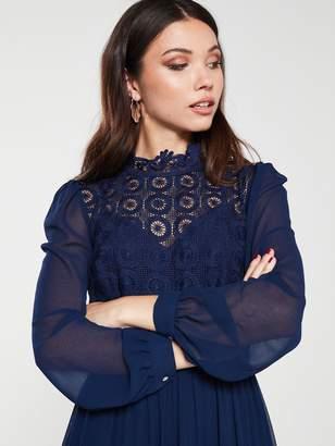 Little Mistress Crochet Lace Long Sleeve Midi Dress - Navy