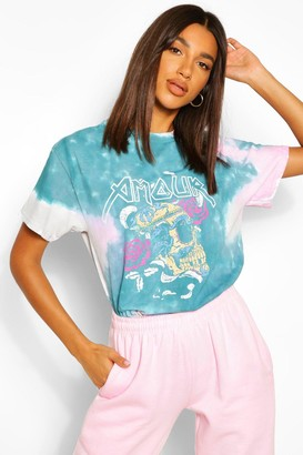 boohoo Tie Dye Amour Skull Rock T-Shirt